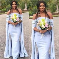 Wholesale unique robes online - Unique Mermaid Bridesmaid Dresses Off The Shoulder Long Sleeves Maid Of Honor Dress Lace Appliques Wedding Guest Dress robes de demoiselle