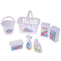 ingrosso plastica del barile-7pcs / set Accessori per bambole Giochi di ruolo per bambini Pulizia della casa Strumento di pulizia per barili di plastica Ragazze dei ragazzi Fare finta di giocare con i giocattoli