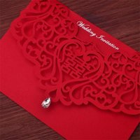 Wholesale Wedding Invitations Couple - Vintage Chinese Style Hollow Out Wedding Invitations Creative Brides Couples Cards Red Cover Foil Stamping Chic Bridal Card