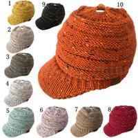 Wholesale tie dye beanie - CC Beanie Tail Warm Knit Messy High Bun CC Ponytail Beanie Cap 10 Colors Sunshade Hat 20pcs LJJO5263