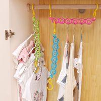 Discount closet organizers pants - 3pcs Multi-function rotating plastic Clothes Hanger 6-Hole Space Saver Wonder Magic Hook Closet drying rack home Organizer