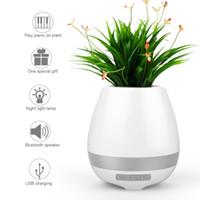 Wholesale Piano Desktop - Hot sell Bluetooth Smart Music flowerpot Speaker Intelligent Touch Plant Piano Music Flower Pot LED Light Speaker