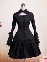 pamuk tek parça elbiseler toptan satış-Gotik Lolita Elbise OP Siyah Uzun Hime Kollu Ruffles Dantel Trim Pamuk Lolita Tek Parça Elbise
