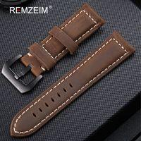 bracelet en cuir 22mm achat en gros de-Bracelet en cuir véritable 20mm 22mm 24mm 26mm Crazy Horse Nubuck Sports En Plein Air Montre Bande Boucle Sangle relogio pulseira