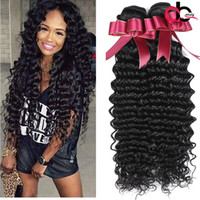 Wholesale Deep Wavy Remy Hair - 9A Deep Wave Brazilian Hair Bundles Wet and Wavy Virgin Remy Human Hair Curly Weave Natural Black Brazilian Virgin Hair Deep Wave