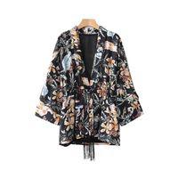 borla kimono vintage al por mayor-Mujeres V Cuello Floral Vintage Kimono Escudo Borlas Tie manga tres cuartos Femenino Casual Suelto prendas de Vestir Exteriores Retro Tops