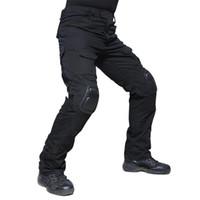 airsoft üniformaları toptan satış-Kamuflaj Askeri Taktik Pantolon Ordu Askeri Üniforma Pantolon Diz Pedleri Ile Airsoft Paintball Savaş Kargo Pantolon