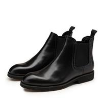 i̇ngiliz stili sivri parmak çizmeleri toptan satış-Yeni Moda Yüksek Kaliteli İngiliz Tarzı Hakiki Deri Slip-On Sivri Burun Erkekler Ayak Bileği Rahat Oxford Çizmeler