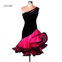 ingrosso abito rosa spandex rosa-Costume da ballo per le donne latino Costume adulto Hot Pink Verde Blu Giallo Zebra Stampa 1 Spalla Salsa Abiti da ballo standard CAD187