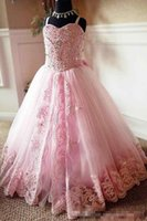 Wholesale First Eyes - 2018 Eye-catching Pink Lace Appliques Beads Flower Girl Dresses Spaghetti Straps Floor Length Kids First Communion Pageant Party Dresses
