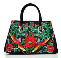 etnik cüzdanlar toptan satış-Çanta Omuz Hobo Çanta Messenger Etnik çift taraflı Florals nakış omuz çantası Etnik zanaat çantası