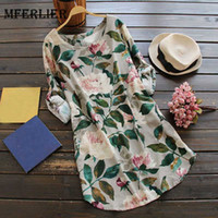 Wholesale Long Comfortable Dresses - Mferlier Mori Girl Autumn Floral Print Casual Dress O Neck Adjustable Long Sleeve Comfortable Cotton Linen Womens Dress