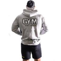 gelbes muskelhemd großhandel-2018 Männer Hoodie Muskel Fitness Brüder Frühling und Herbst grau schwarz gelb Männer Fitness Kleidung Kapuzen-Reißverschluss Shirt Jacke