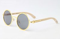 Wholesale round bamboo box - New arrival 2018 round sunglasses for men white buffalo horn glasses women designer wood bamboo sunglasses with box case lunettes