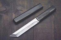 ingrosso coltelli a lame fisse-Drop shipping Katana VG10 Lama in acciaio Damasco Tanto Blade Manico in ebano Coltelli a lama fissa con coltello in legno