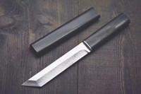 fixblatt holz großhandel-Tropfenverschiffen Katana VG10 Damascus Steel Tanto-Klinge Ebenholzgriff Feststehende Messer mit Holzscheide