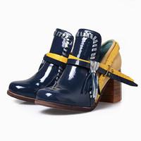 botas femininas azuis venda por atacado-Azul Chunky Sapatos de Salto Alto Mulher Borlas de Cor Misturada Mulheres Bombas Feminino Com Franjas Curto Ankle Boots Valentine Sapatos