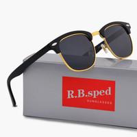 mujeres polaroid gafas de sol al por mayor-15 colores para elegir marca diseñador hombres mujeres gafas de sol polarizadas semi sin montura gafas de sol marco oro lente polaroid con caja marrón y caja