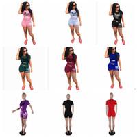Wholesale women shorts pants - summer Pink letter print 2 piece set tracksuit women Pink Letter Short Sleeve T Shirt Tops + Shorts Short Pants Sportswear KKA5018