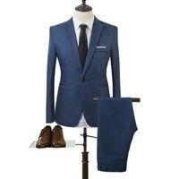 coreano moda masculina jaqueta venda por atacado-2018 Novos Projetos Casaco e Terno de Calça Homens Cor Sólida Casamento Smoking Para Homens Slim Fit Ternos Dos Homens Coreano Moda (jaquetas + Calças)