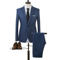 yeni kat erkekler tasarlar toptan satış-2018 Yeni Tasarımlar Ceket ve Pantolon Takım Erkekler Için Katı Renk Düğün Smokin Erkekler Slim Fit Mens Suits Kore Moda (Ceketler + Pantolon)