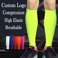 Wholesale veins legs - Calf Compression Sleeve Support Leg Sleeve Brace Best for Running Sport Cycling Varicose Veins Women Men Free DHL G439S