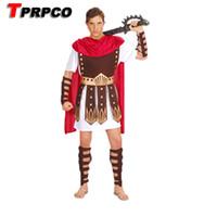 cosplay romano sexy venda por atacado-Sexy Guarda Hércules Roman Gladiator Roupas Set Guerreiro Romano Traje Halloween Constumes Partido Cosplay Homens Eventos Adereços NL1291 S920