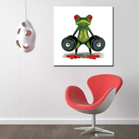 Wholesale funny pictures cartoon - As Gifts Modern Home Decor Wall Painting Arts Large Cool Funny Frog Animal Pictures Handpainted Cartoon Oil Paintings on Canvas