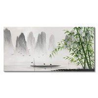 Wholesale chinese landscape canvas oil paintings online - Traditional Chinese Painting Black and White Landscape Canvas Wall Art Bamboo Decorative Wall Pictures For Living Room