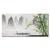 schwarze weiße chinesische malerei großhandel-Traditionelle Chinesische Malerei Schwarz und Weiß Landschaft Leinwand Wandkunst Bambus Dekorative Wandbilder Für Wohnzimmer