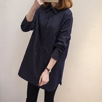 Wholesale Long Sleeve Blouse Bow - Autumn Spring Plus size Shirts for women Vintage stripe Long style Women Blouses Gray and Navy blue color