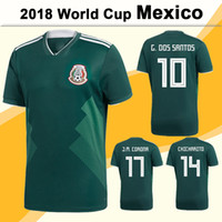 Wholesale National Soccer Team Uniform - 2018 World Cup Soccer Jersey New Mexico National Team Home Green Football Jerseys Mens Uniforms G.DOS SANTOS CHICHARITO Short Soccer Shirts