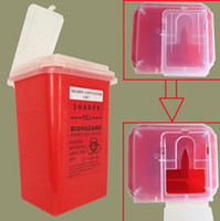 Wholesale needle plastic containers - Hot Sale Red Tattoo Plastic Sharps Container Biohazard Needle Disposal 1 Qt Size For Tattoo Artists Free shipping