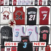 Wholesale Miami Shorts - 2018 New 3 Dwyane Wade 24 Lauri Markkanen 23 Jersey 8 Zach LaVine Mitchell 7 Goran Dragic 21 Hassan Whiteside All Star MIAMI Chicago Jerseys
