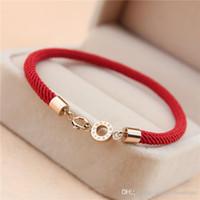 joyas de cuerda roja al por mayor-Calidad superior de acero inoxidable 316L corchete rojo cuerda mujeres pulsera dos diseños de joyería Marca en 16.5 cm Envío gratis PS5212