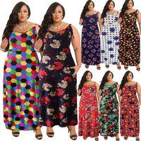 Wholesale large long sexy casual dresses - 2018 Summer Large Size plus size Women clothes Sexy Sling Long Dresses Print casual Fashion BOHO Dress Bohemia Maxi Beach Dress