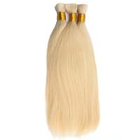 extensões de cabelo loira trança venda por atacado-Cabelo Humano HC Cabelo A Granel Para Trança 1 Pacote Frete Grátis 14