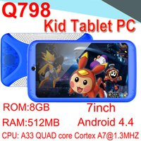 Wholesale Kids Brand Tablet PC inch Quad Core Children Tablet Android Allwinner A33 Google player WIFI Speaker Protective Camera cover ECPB