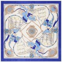 шарфы оптовых-100% Саржа шелковый шарф женщины квадратные шарфы обернуть океан парусник якорь шейный платок женский подлый шелк хиджаб Леди Bufandas 100 см*100 см