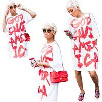gevşek yarım uzun kollu gömlek toptan satış-2018 Yeni T-Shirt Kadın Harajuku Rahat Uzun T Gömlek Kadın Gevşek Yarım Kollu Mektup Üstleri Tee Komik Lady Giyim Tshirt