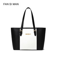 ingrosso borsa nera di patchwork in pelle bianca-Fansiman Famous Brand 2018 Nuove donne tracolla Luxury Black White Patchwork Big Tote Bag femminile Borse Pu Leather Dress