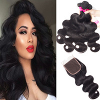 Wholesale free brazilian weave resale online - 8A Brazilian Straight Body Wave Loose Wave Kinky Curly Human Hair Weaves Bundles with X4 Closure Free Middle Part Double Weft Human Hair