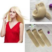 человеческие волосы yaki утки оптовых-10inch 613 # Смесь человеческих волос Синтетическое волокно New Yaky Weaving Straight Yaki Weave Wefts Смешанные материалы Наращивание волос