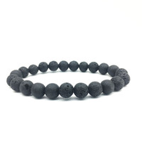 Wholesale Cheap Bead Bracelet Wholesale - Cheap 8mm Black Lava Stone Beads Bracelet DIY Lava Rock Essential Oil Diffuser Bracelet for women