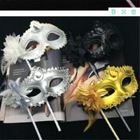venedik maskeleri sopalarla toptan satış-Lüks Elmas Kadın Sopa Sopa Üzerinde Seksi Eyeline Venedik Masquerade Parti Maskesi Pullu Dantel Kenar Yanal Çiçek Altın Gümüş Siyah Beyaz Colo