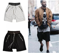 Wholesale Wool Shorts Plus Size - Hot American Hip Hop Men's Shorts Kanye Classic Zipper Shorts Street Tide Brand Punk Style Shorts