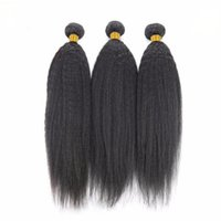 Wholesale permed hair extensions resale online - Kinky Straight Human Hair Bundles Non Remy Hairs Extension Brazilian Hairing Weave Bundle Machine Double Weft Natural Color