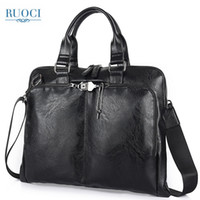 дорожные сумки мужчины оптовых-RUOCI Man Shoulder Bag Messenger Bags Business Briefcase Leather Men Bag Computer Laptop Handbag Men's Travel Bags Black Brown