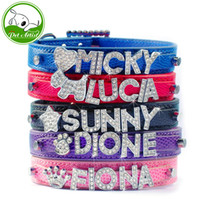 Wholesale rhinestone dog collar letters - Personalized Snake Pattern Leather Dog Pet Puppy Collars Free Customized Rhinestone Name Letters & Charms 4 Sizes
