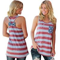 amerikan bayrağı yelek kadınlar toptan satış-2018 Yeni Moda Yaz Kolsuz Tank Top T Shirt Kadın Amerikan Bağımsızlık Günü Ulusal Bayrak Dijital Baskı Geri Ilmek Yelek